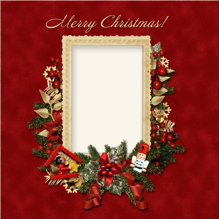 Victorian background with Christmas postcard, with space for photo and text