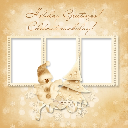 victorian christmas: Vintage Christmas frame with the wishes  Stock Photo