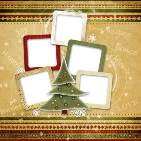 家族のためのクリスマスのグリーティング カード 写真素材