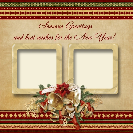 Vintage Christmas frame with the wishes  photo
