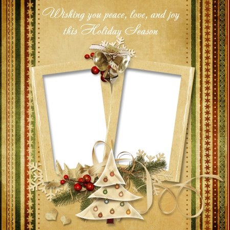 victorian christmas: Christmas vintage greeting frame with the wishes