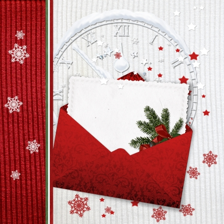 Holiday Cards with envelope on knitted background  photo