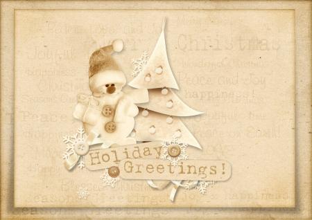 cardboard texture: Vintage Christmas greeting card