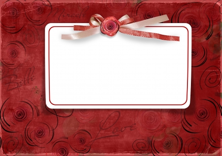 rose frame: Red Valentine s day background with card  Stock Photo
