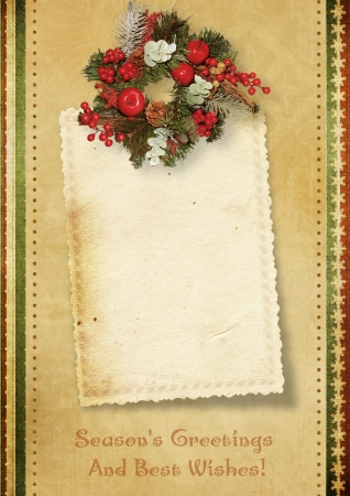 Vintage greeting card with Christmas wreath photo