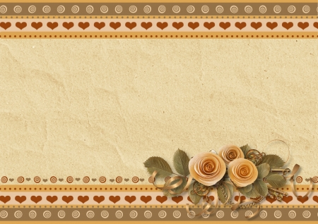 paper fastener: Greeting cards with roses  Stock Photo