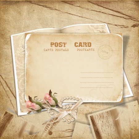 paper fastener: Vintage background with postcard anf roses  Stock Photo