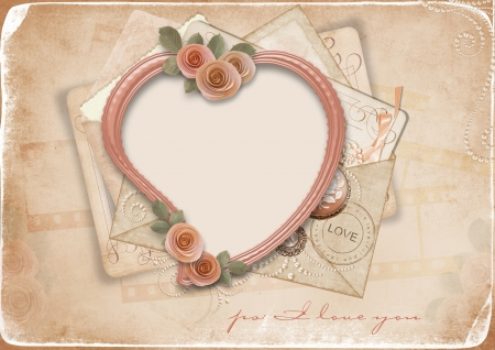 rose photo: vintage background with old frame-heart for congratulations and invitations with space for photo or text