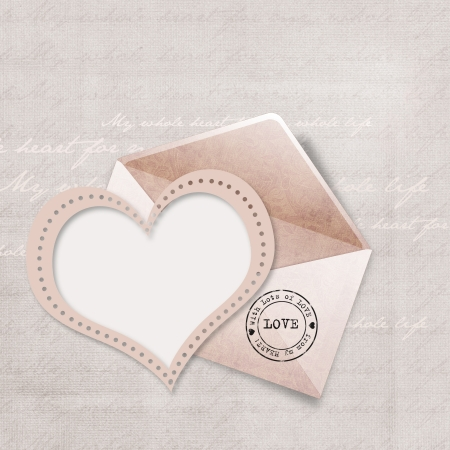 Greeting card with envelope and heart  photo