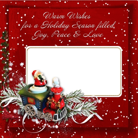 Christmas background with card and warm wishes  photo