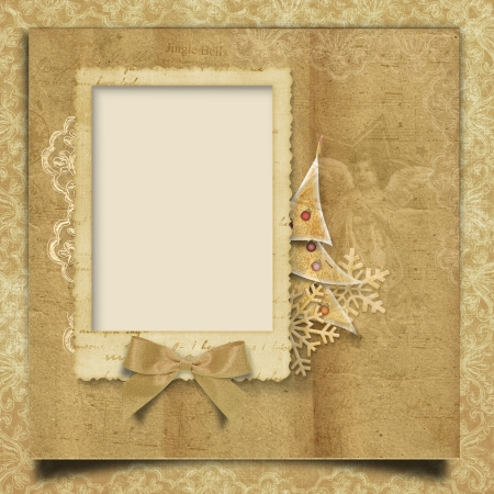 Vintage Christmas background with frame  photo