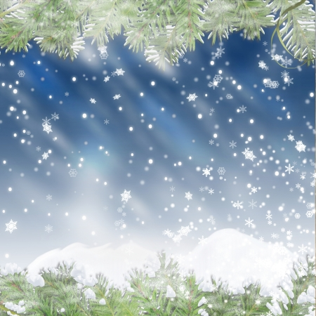 Christmas blue background with snowflakes  and pine branches