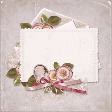 Vintage  background with old card and roses photo