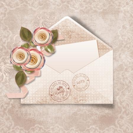 old envelope: Valentines day  Stock Photo