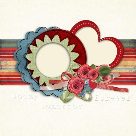 red rose border: Valentines day  Retro postcard Stock Photo