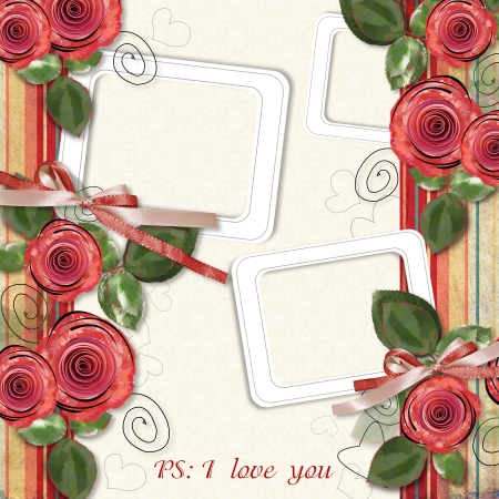 Retro greeting card with roses  photo
