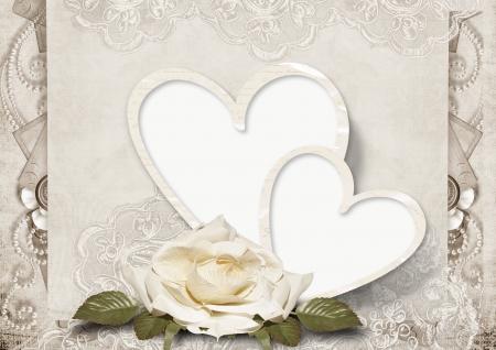 バラとビンテージ愛カード