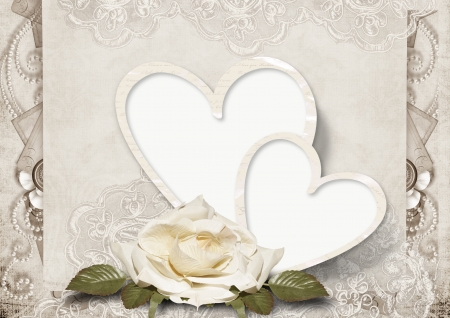 Vintage love card with roses  Stock Photo