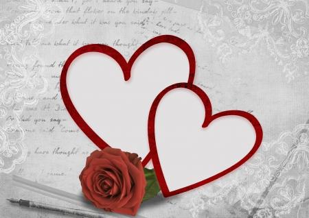 バレンタインの日のバラでハート フレーム