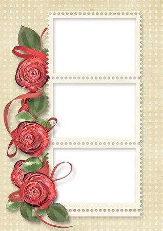 Vintage card for congratulation with roses  photo