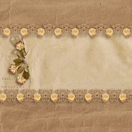 photoalbum: vintage background with roses Stock Photo