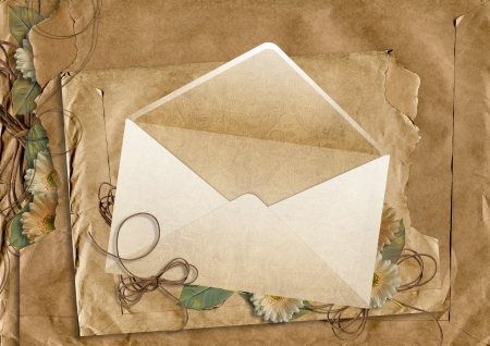 photoalbum: envelope on the old  paper background