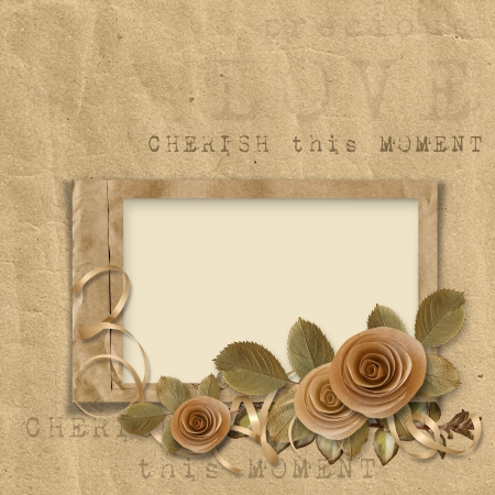 sepia: vintage frame with roses