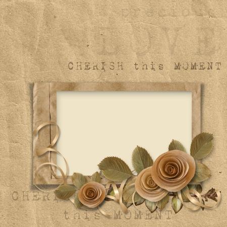 old album: vintage frame with roses