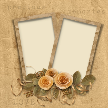 pics: Vintage background with frames and roses