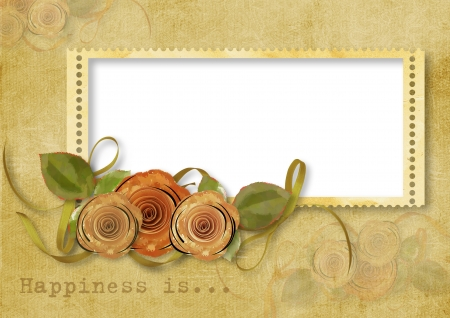 photoalbum: Vintage background with stamp-frame and roses