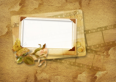 Vintage frame with filmstrip and rose Stock Photo - 16528784