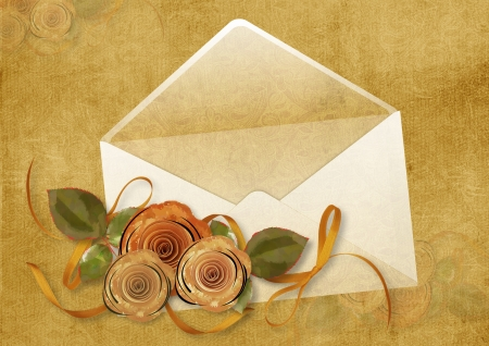 old envelope: Vintage background with envelope and roses