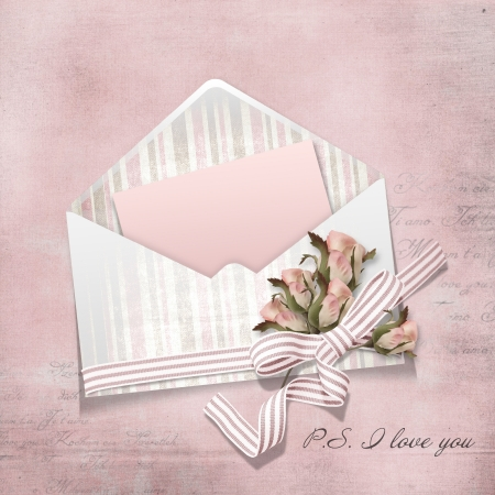 Vintage card and envelop with roses  Stock Photo