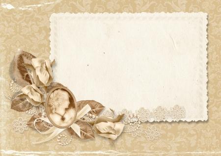 Vintage elegant frame with cameo