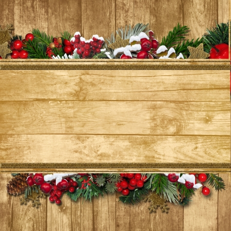 Fir 小枝とホリーとビンテージ クリスマス挨拶背景 写真素材