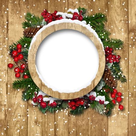 木製の背景に装飾とビンテージのクリスマス フレーム