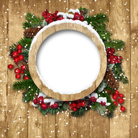 Vintage Christmas frame with decorations on a wooden background