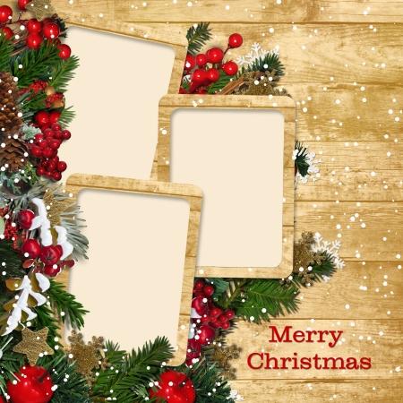 木製の背景に装飾とクリスマス フレーム