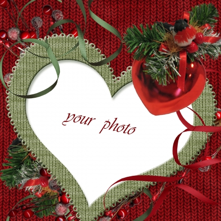 Vintage Christmas postcard with heart