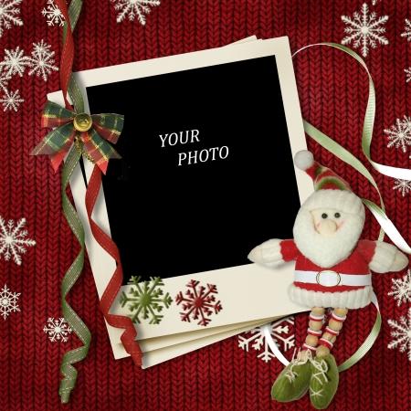 new year frame: vintage Christmas polaroid-frame with Santa Stock Photo