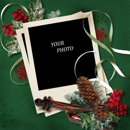 vintage Christmas polaroid-frame photo
