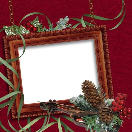 ビンテージ クリスマス フレーム バイオリン 写真素材
