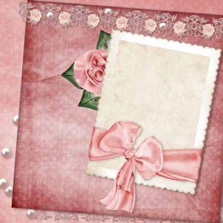 rose frame: Vintage card  Valentine s Day