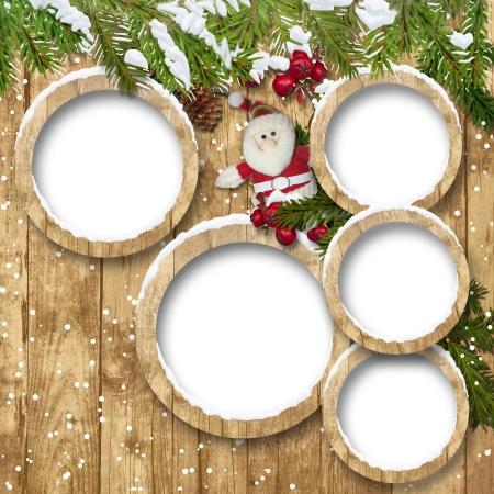 fir twig:  Christmas background with frame, Santa and fir twig decorations  Christmas background with frames, Santa and fir twig decorations