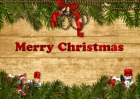 Christmas festive background with nutcracker and decorations  Stock Photo