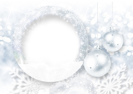 Christmas background with frost photo-frame  Stock Photo