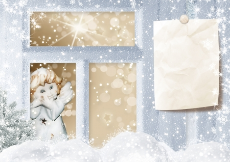 winter window: Retro Christmas card with an angel in the window Stock Photo