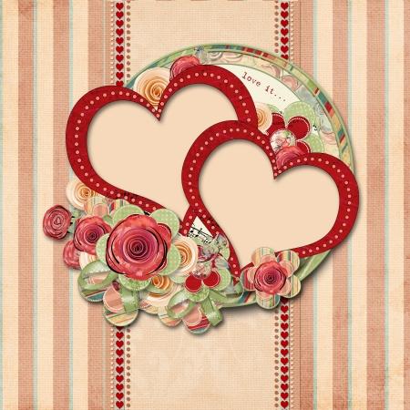 豪華なフレームとビンテージ バレンタイン背景 写真素材