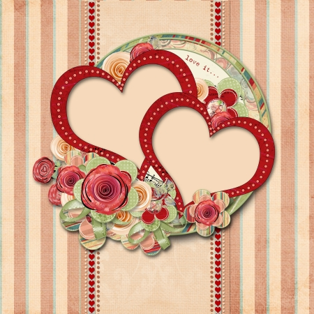 anniversary flowers: Vintage valentine background  with gorgeous frame