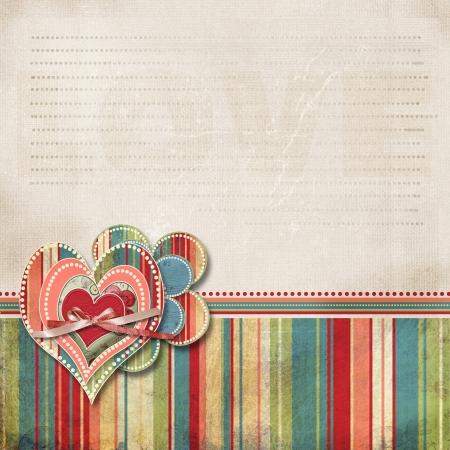 レトロなスクラップブッ キング バレンタイン backgroundwith 心とテキスト用の領域